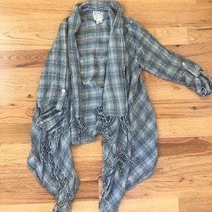 Plaid cardigan with fringe